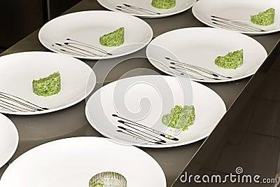 Dish in a restaurant kitchen