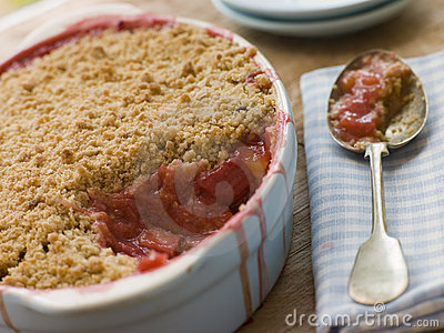 Dish of Rhubarb and Blood Orange Crumble