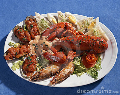 Dish with seafoods