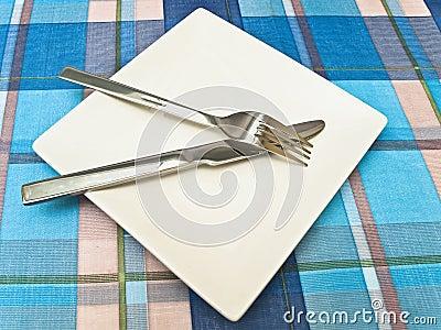 Dish at tablecloth
