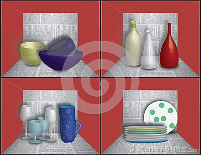 Dishes on newspaper shelves