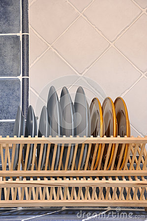 Dishes and shelf in kitchen