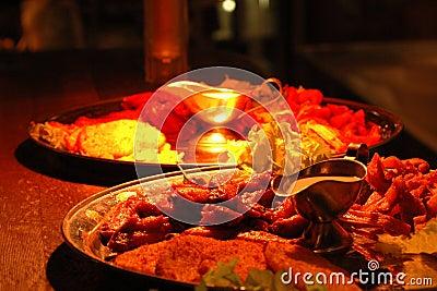 Dishes under heat