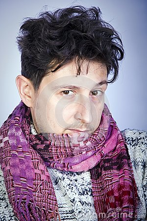 Dishevelled young man with scarf
