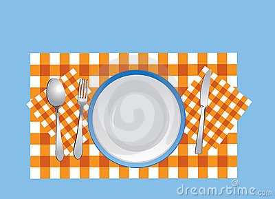 Dishware on the tablecloth in vector