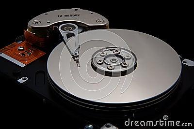 Disk Drive on Black Background