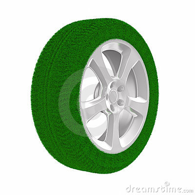 Disk wheel from grass. Isolated 3D