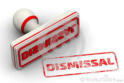 DISMISSAL. Seal and imprint Stock Photo