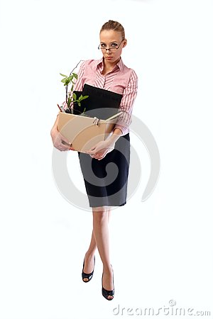 Dismissed working woman with a box