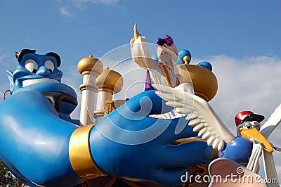 Disney Aladdin e genio durante la parata Immagine Stock Editoriale