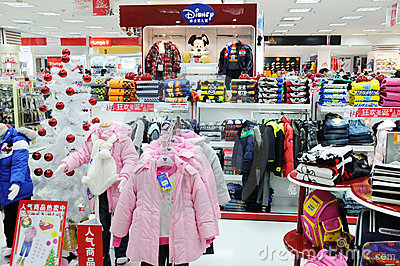 Disney boys and girls clothes shop Editorial Stock Image