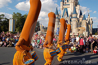 Disney brooms (Fantasia movie) during a parade Editorial Stock Image
