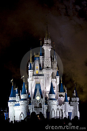Disney Castle crowd at night Editorial Stock Photo