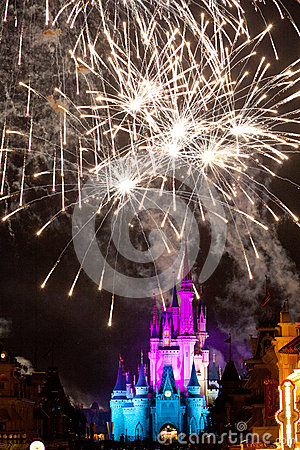 Disney Castle Fireworks Editorial Stock Photo