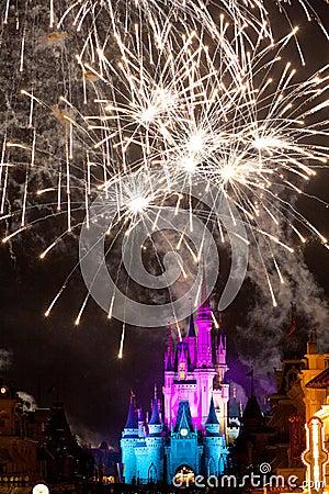 Disney Castle Fireworks Editorial Stock Photo
