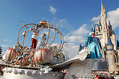 Disney Cinderella and Prince during a parade Editorial Stock Image