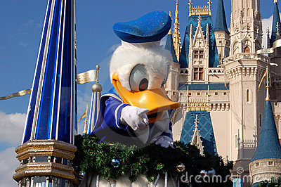Disney Donald Duck during a parade Editorial Photo