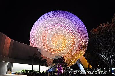 Disney Epcot Center at night, Orlando, Florida Editorial Photography