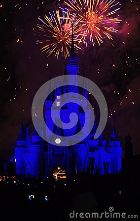 Disney Magic Kingdom Fireworks Editorial Photo