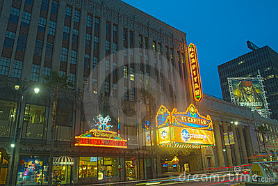 Disney Outlets and El Capitan Theater At Night Editorial Image