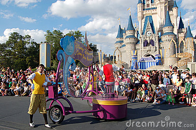 Disney parade in front of Cinderella castle Editorial Image