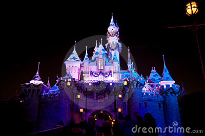 Disneyland Castle with Christmas decoration Editorial Photo