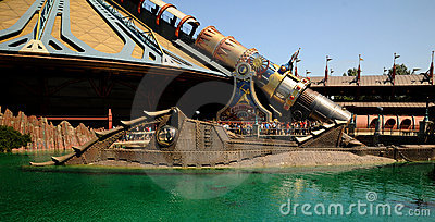 Disneyland  - entrance of the submarine Nautilus Editorial Stock Photo