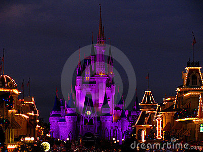 Disneyworld Magic Kingdom Castle Lights 4 Editorial Image