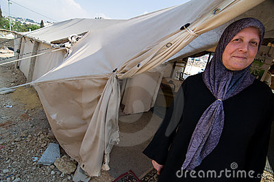 Displaced Palestinian Woman Editorial Photography