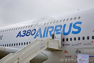 Display by the Airbus A380 at the International Av Editorial Stock Photo