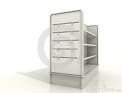 Display fixtures with slat wall and shelves