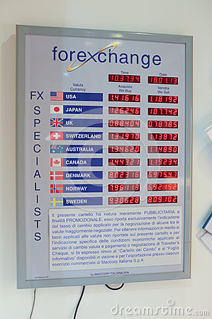 Display of Money Exchange Editorial Stock Image