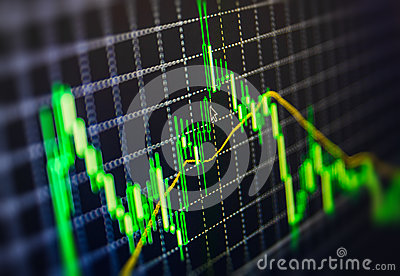 Display of Stock market quotes chart graph on monitor live online screen. Profit, capital growth and financial success concept. Cartoon Illustration
