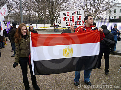 Displaying Their Flag Editorial Stock Photo