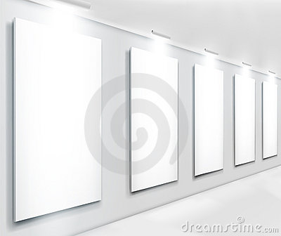 Displays in gallery. Vector illustration.