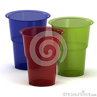 Disposable cups 3d illustration