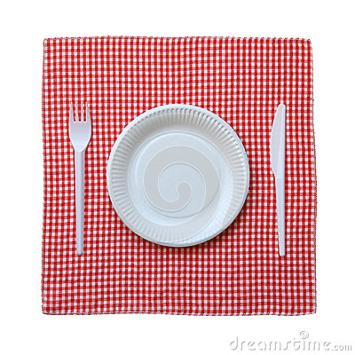 Paper plate on a checkered cloth.