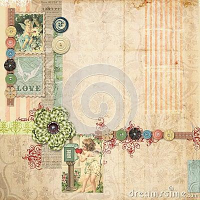 Disposición rosada del libro de recuerdos con adornos de la vendimia