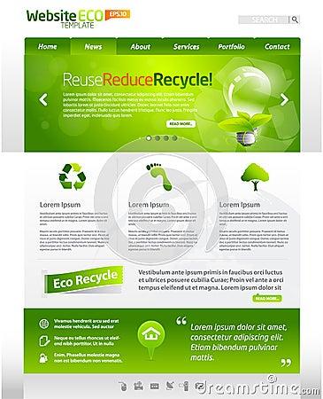 Disposizione verde del modello di Web di eco