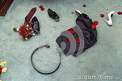 Disrobed wedding clothes