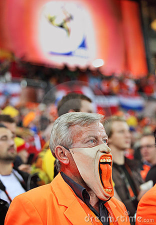 Dissapointed Dutch supporter during final match Editorial Stock Photo
