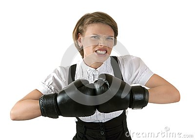 The dissatisfied girl in boxing gloves