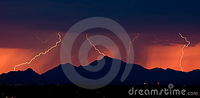 Distant Lightning at Sunset