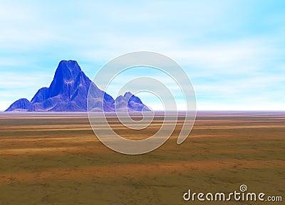 Distant Mountain on Horizon Landscape