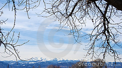 Distant Snow Capped Rocky Mountains