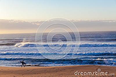 Ocean Waves Beach Surfer Walking Editorial Stock Photo
