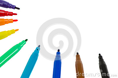 Distinct color felt tip pens isolated on white