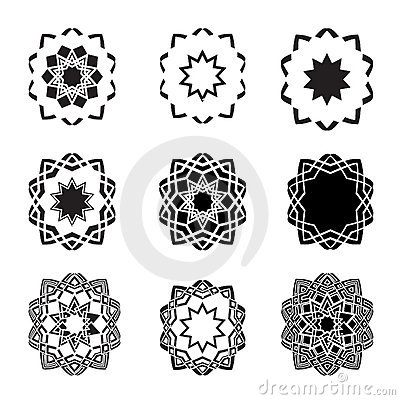 Distorted abstract star icon set and logos