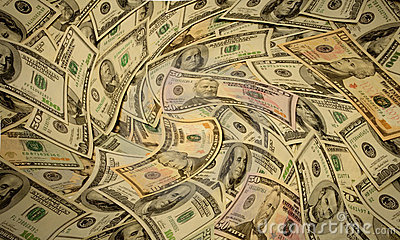 Distorted American banknotes cash money