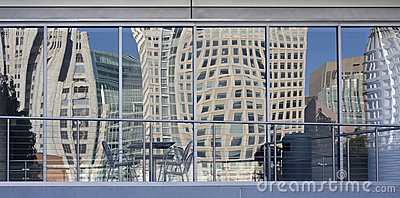 Distorted cityscape of San Francisco